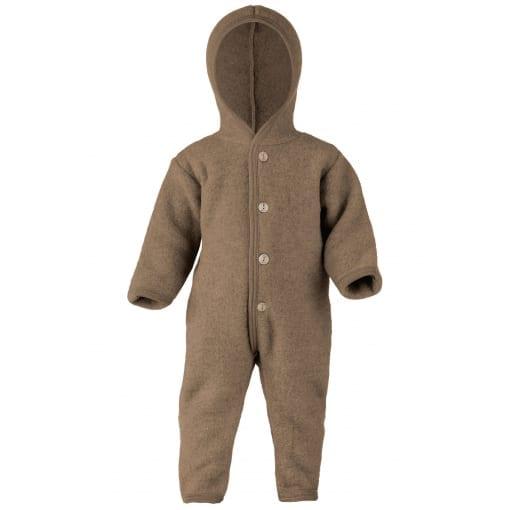 Baby-Overall mit Kapuze, Holzknöpfen und Umschlägen zum Verschließen an Armen und Beinen, Fleece, Wallnuss melange
