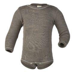 Baby-Body langarm, mit Druckknöpfen auf den Schultern, Feinripp, Walnuss