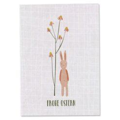 Osterpostkarte Hase mit Blüten