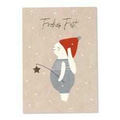 Weihnachtspostkarte Schneehase rosa
