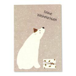 """Postkarte Eisbär mit Päckchen - """"Frohe Weihnachten"""""""