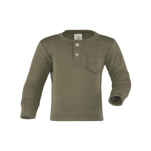 705533 34E Engel Natur Baby Langarm Shirt Knopfleiste Henley Shirt bio schurwolle seide olive gruen 92081